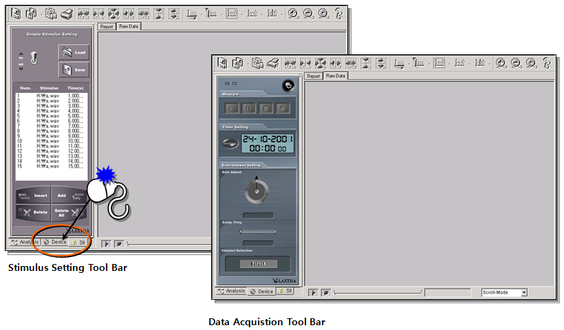 Move to Data Acquisition Tool Bar
