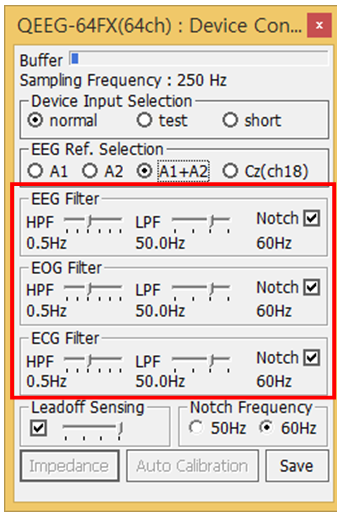 QEEG-64FX Device Control Filter Selection